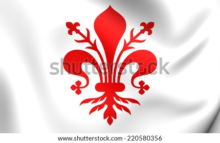 Flag of Florence, Italy. Close Up.    - stock photo