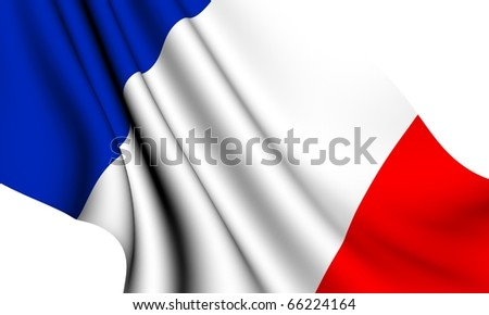 Flag of France against white background. Close up. - stock photo