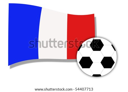 Flag of France and a football, isolated on white background