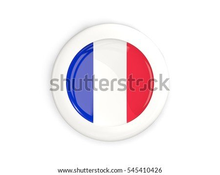 Flag of france, glossy round button with white frame isolated on white. 3D illustration