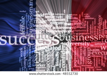 Flag of France, national country symbol illustration wavy business success concept