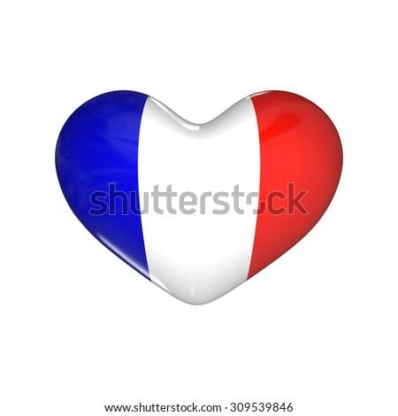 flag of France on the heart. 3d render illustration - stock photo