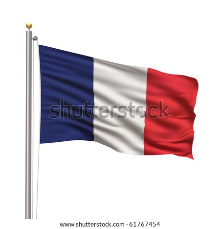 Flag of France with flag pole waving in the wind on front of blue sky - stock photo