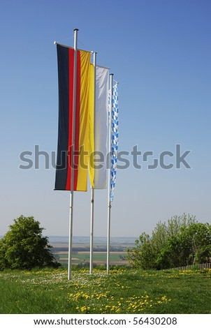 Flag of Germany, flag of the catholic church and flag of Bavria