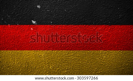 Flag of germany, German flagpainted on grunge wall - stock photo
