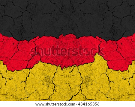 Flag of Germany on rugged wall full of scratches - metaphor of problem and crisis leading to collapse of country - economical bankruptcy of euro and eurozone, migrant crisis , terrorism  - stock photo
