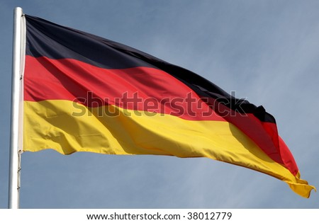 Flag of Germany over a blue sky