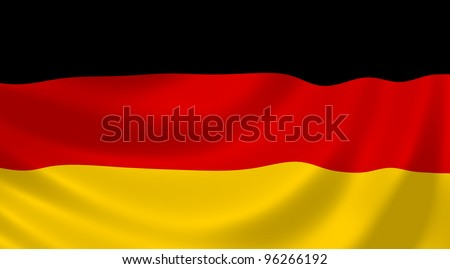 Flag of Germany waving in the wind detail
