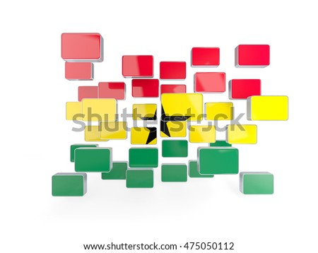 Flag of ghana, mosaic background. 3D illustration