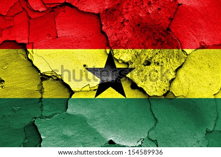 flag of Ghana painted on cracked wall - stock photo