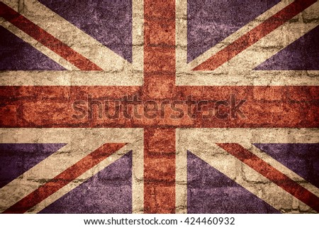 flag of Great Britain or British banner on brick texture