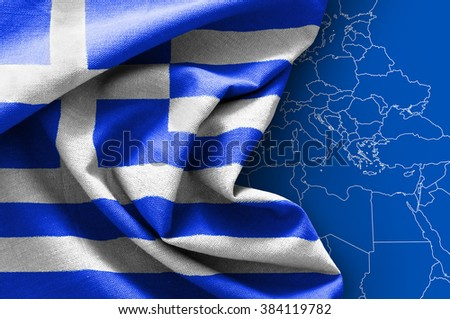 Flag of Greece on map background