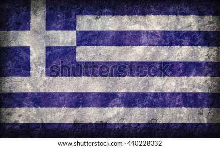 Flag of Greece painted onto a rough wall - stock photo