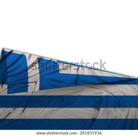 Flag of Greece  rolled up on itself with grunge wave - stock photo