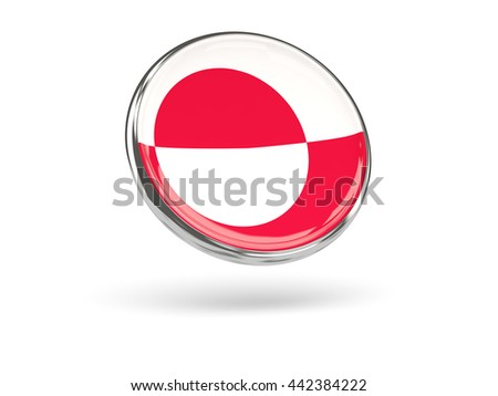 Flag of greenland. Round icon with metal frame, 3D illustration