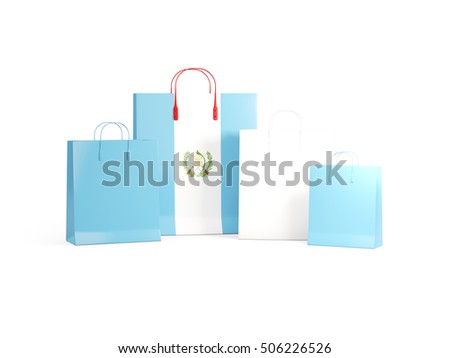 Flag of guatemala on shopping bags. 3D illustration