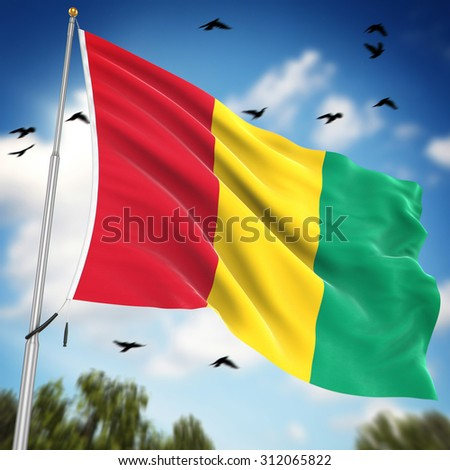 Flag of Guinea , This is a computer generated and 3d rendered image.