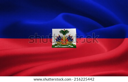 Flag of Haiti waving in the wind. Silk texture pattern