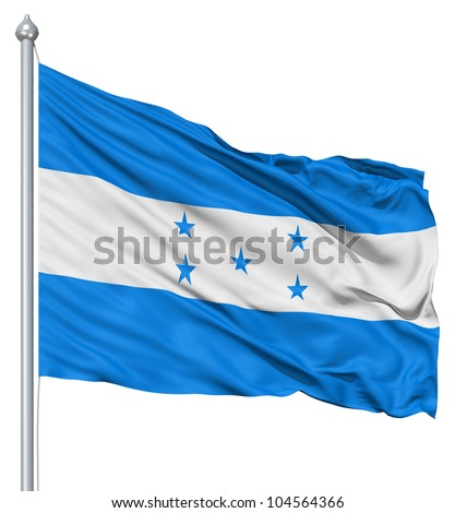 Flag of Honduras with flagpole waving in the wind against white background - stock photo