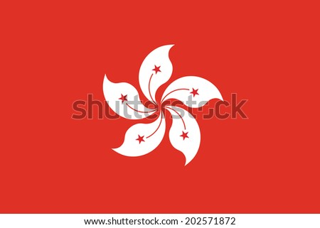 Flag of Hong Kong. Accurate dimensions, element proportions and colors. - stock photo