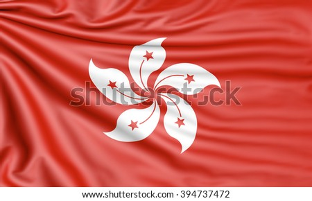 Flag of Hong Kong, 3d illustration with fabric texture