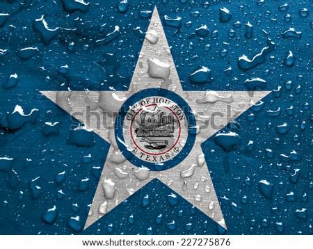 flag of Houston with rain drops - stock photo