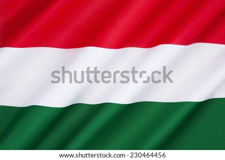 Flag of Hungary - Adopted 1st October 1957. The flags form originates from national republican movements of the 18th - 19th century, while its colors date from the Middle Ages. - stock photo