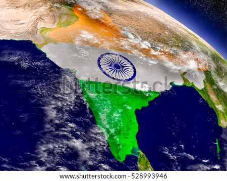 Flag of India on planet surface from space. 3D illustration with highly detailed realistic planet surface and clouds in the atmosphere. Elements of this image furnished by NASA.