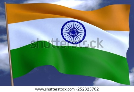 flag of India on the background of the sky - stock photo
