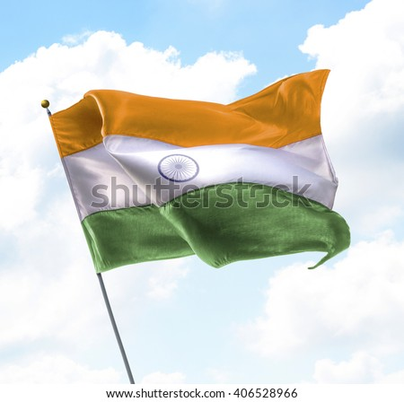 Flag of India Raised Up in The Sky - stock photo