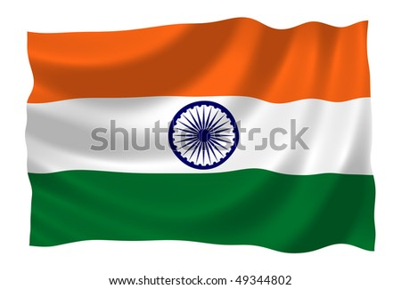 Flag of India waving in the wind - stock photo