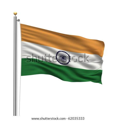 Flag of India with flag pole waving in the wind over white background - stock photo