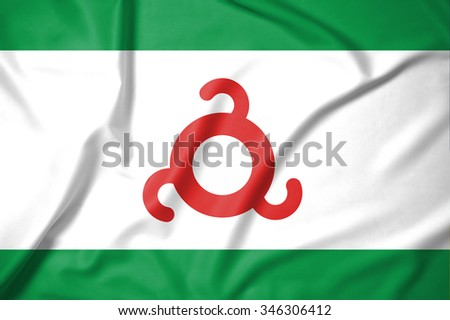 Flag of Ingushetia republics / krays / provinces / federal cities / autonomous oblast / autonomous okrugs of Russia. on soft and smooth silk texture