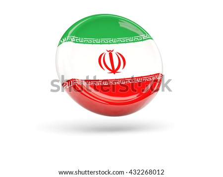 Flag of iran, round icon. 3D illustration - stock photo