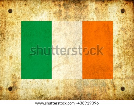 Flag of Ireland painted on a rusty plate with screws, aged by time-3d illustration