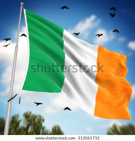 Flag of Ireland , This is a computer generated and 3d rendered image.