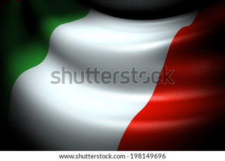 Flag of Italy in the dark with brightness spot - stock photo