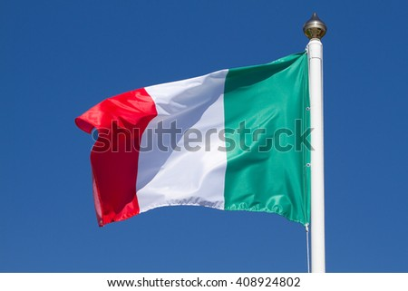Flag of Italy on a background sky