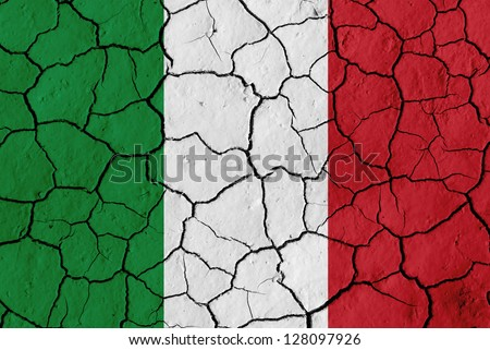 Flag of Italyl over cracked background, conceptual image of crisis - stock photo