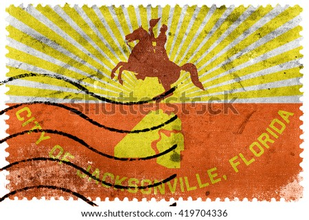 Flag of Jacksonville, Florida, old postage stamp - stock photo