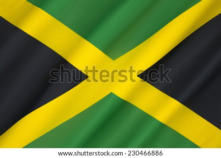 Flag of Jamaica - adopted on 6th August 1962, the original Jamaican Independence Day, the country having gained independence from the British-protected Federation of the West Indies.  - stock photo