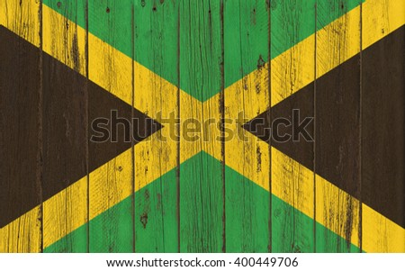 Flag of Jamaica painted on wooden frame - stock photo