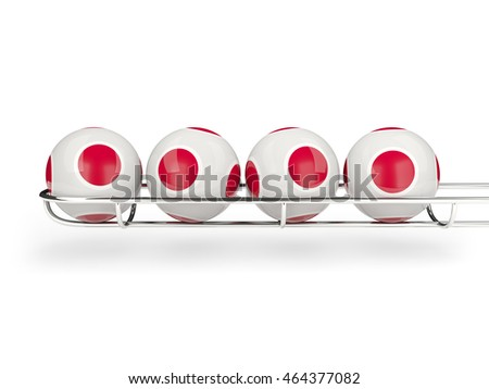 Flag of japan on lottery balls. 3D illustration