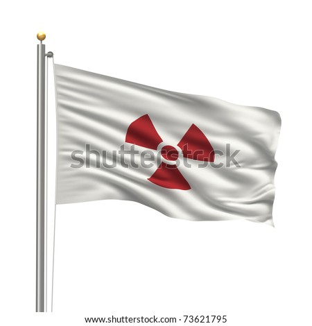 Flag of Japan with a radio activity warning on it - stock photo