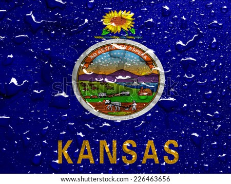 flag of Kansas with rain drops