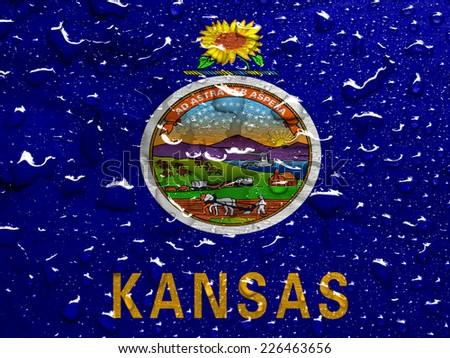 flag of Kansas with rain drops - stock photo