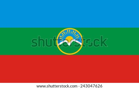 Flag of Karachay-Cherkessia Republic, Russia - stock photo