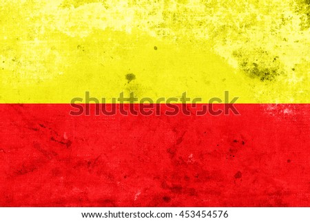 Flag of Karnataka, India, with a vintage and old look - stock photo
