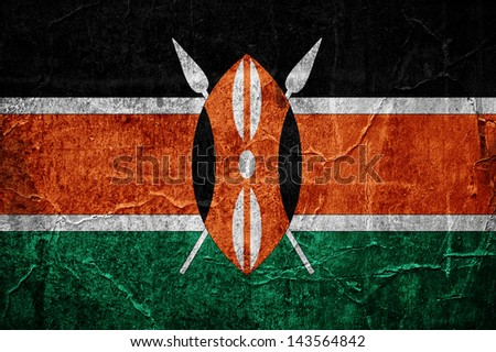 Flag of Kenya overlaid with grunge texture - stock photo