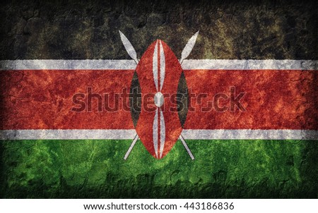 Flag of Kenya painted onto a rough wall